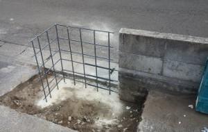 施工中6 ブロック塀鉄筋組