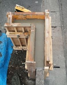 施工中10 ブロック塀枠コンクリ流し