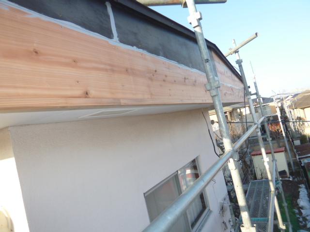 施工中 屋根破風修繕工事