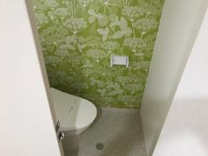 施工完了トイレ 床クッションフロア・クロス貼替・新規ウォシュレット取付