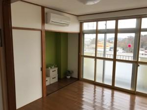 施工完了 東側洋室壁クロス貼替、既存エアコン復旧